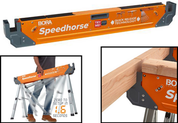 Bora Tools' new sawhorse, the PM-4500 Speedhorse™, is amazingly fast to set up.