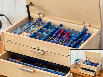 Free downloadable plan for a tool chest sized to fit Lock-Align system components