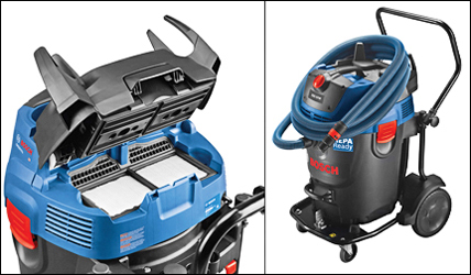 The new GAS20-17AH wet/dry dust extractor from Bosch is an industrial-grade, 300 CFM machine with a 17-gallon capacity