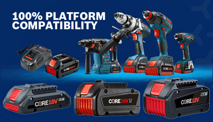 The new family of Bosch 18 Volt batteries is now available at Lowe's stores nationwide.
