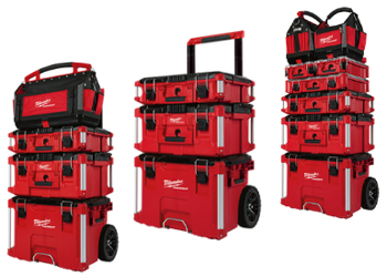 Milwaukee's new PACKOUT system is a wide assortment of heavy duty tool boxes, organizers, and storage totes