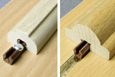 Knapp's invisible Klick connector can be used to attach moldings.