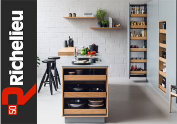 Richelieu Hardware's new Fioro line combines metal shelves with wood fronts